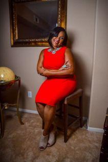 Tia Ross in a red dress